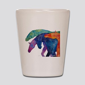 Rainbow Horses Shot Glass