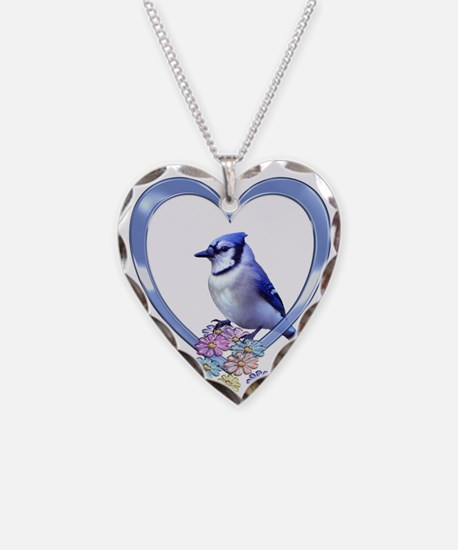 Blue Jay in Heart Necklace