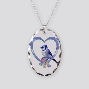 Blue Jay in Heart Necklace Oval Charm