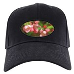Pink Blossoms Black Cap with Patch
