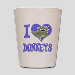 I Love (Heart) Donkeys Shot Glass