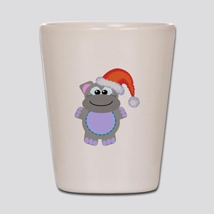 Cute Chrismas Hippo Santa Shot Glass