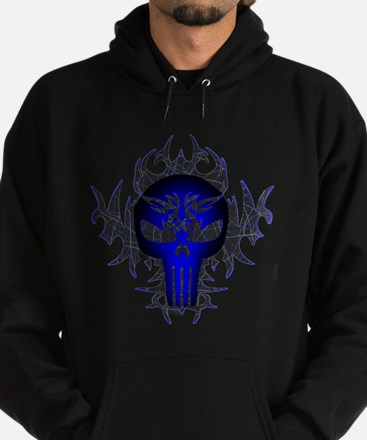 Tribal Punisher (blue) Hoodie (dark)