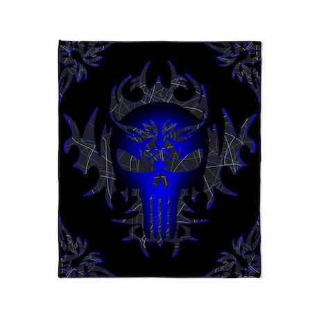 Tribal Punisher (blue) Throw Blanket