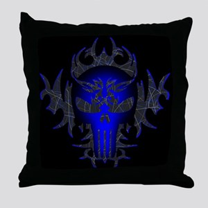 Tribal Punisher (blue) Throw Pillow