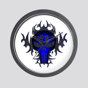 Tribal Punisher (blue) Wall Clock