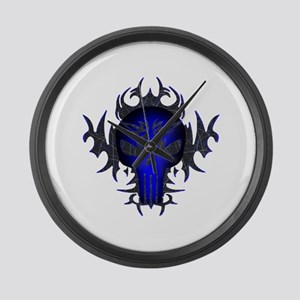 Tribal Punisher (blue) Large Wall Clock