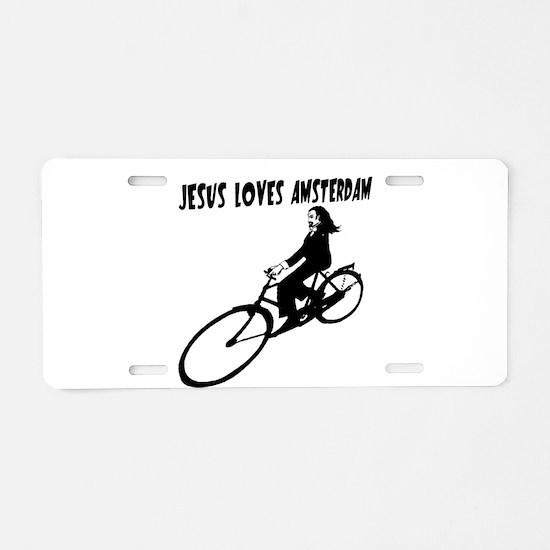 JESUS LOVES AMSTERDAM Aluminum License Plate