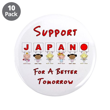 """Japan Relief Support 3.5"""" Button (10 pack)"""