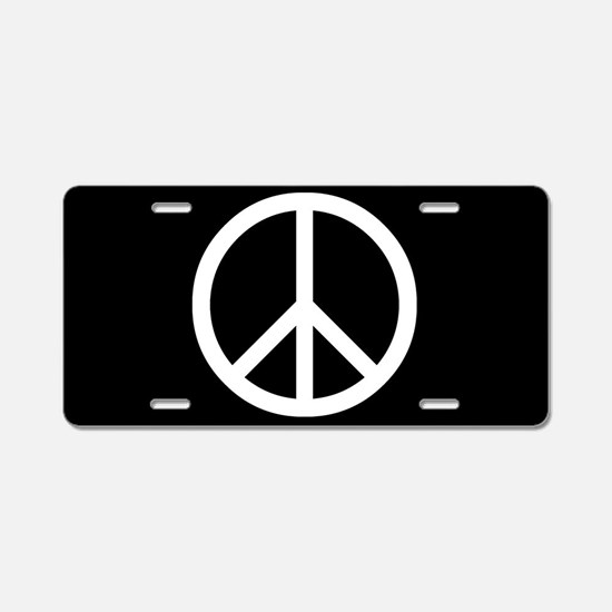 White Peace Sign Aluminum License Plate