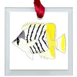 Atoll Butterflyfish Square Glass Ornament