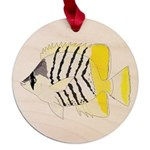 Atoll Butterflyfish Maple Round Ornament