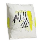 Atoll Butterflyfish Burlap Throw Pillow