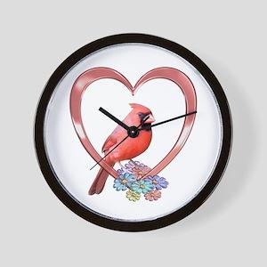 Cardinal in Heart Wall Clock