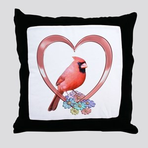 Cardinal in Heart Throw Pillow