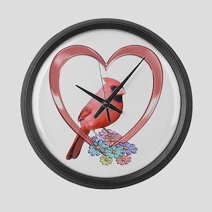 Cardinal in Heart Large Wall Clock