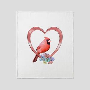 Cardinal in Heart Throw Blanket