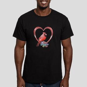 Cardinal in Heart Men's Fitted T-Shirt (dark)