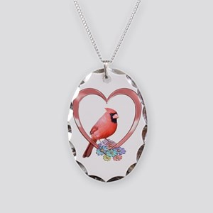 Cardinal in Heart Necklace Oval Charm