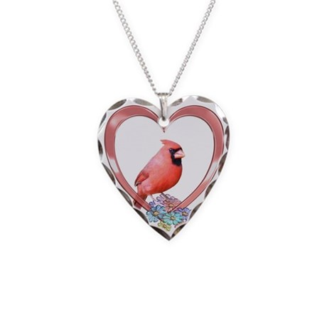 Cardinal in Heart Necklace Heart Charm