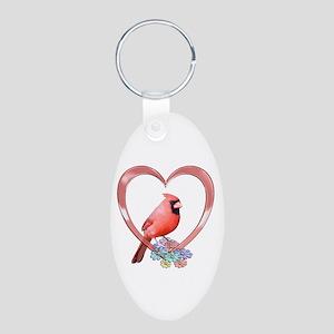 Cardinal in Heart Aluminum Oval Keychain