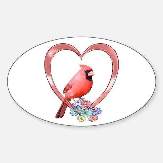 Cardinal in Heart Sticker (Oval)