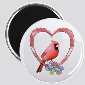 Cardinal in Heart Magnet