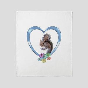 Squirrel in Heart Throw Blanket