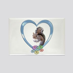 Squirrel in Heart Rectangle Magnet