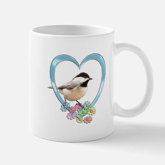 Chickadee in Heart Mug