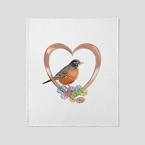 Robin in Heart Throw Blanket