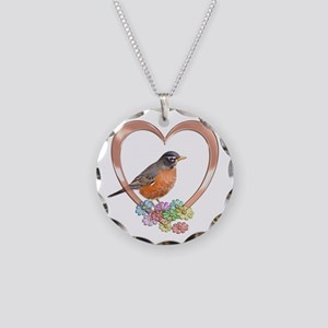 Robin in Heart Necklace Circle Charm