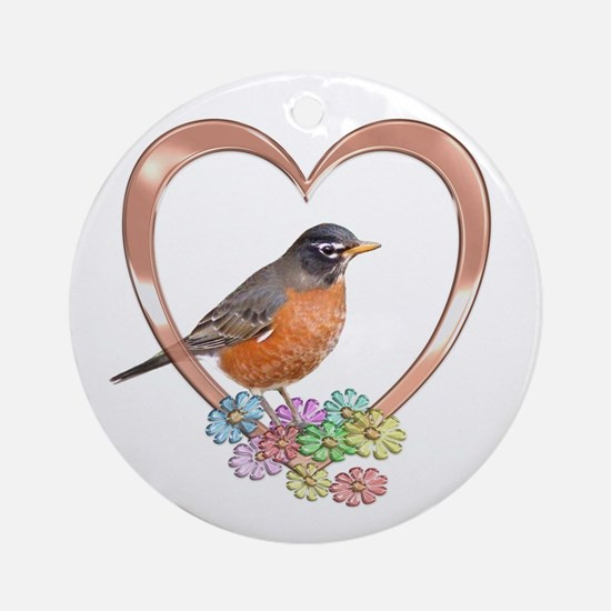 Robin in Heart Ornament (Round)