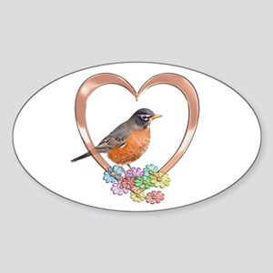 Robin in Heart Sticker (Oval)