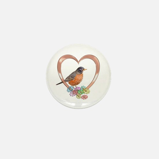 Robin in Heart Mini Button