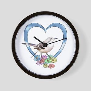 Mockingbird in Heart Wall Clock