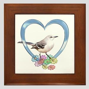 Mockingbird in Heart Framed Tile