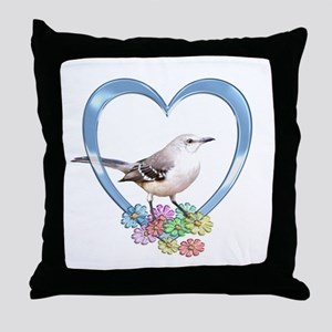 Mockingbird in Heart Throw Pillow