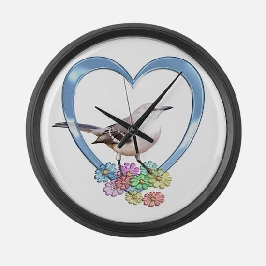 Mockingbird in Heart Large Wall Clock
