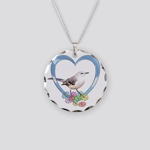 Mockingbird in Heart Necklace Circle Charm