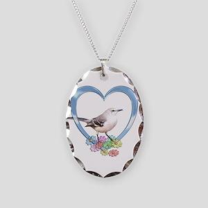 Mockingbird in Heart Necklace Oval Charm