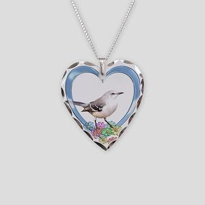 Mockingbird in Heart Necklace Heart Charm