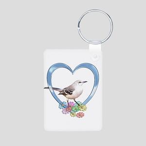 Mockingbird in Heart Aluminum Photo Keychain