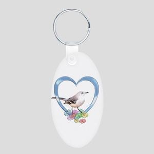 Mockingbird in Heart Aluminum Oval Keychain