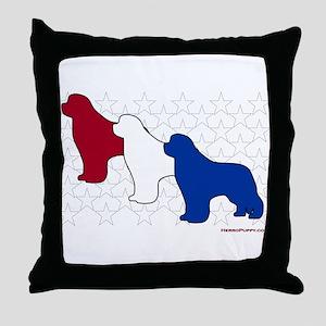 Patriotic Newfies Throw Pillow