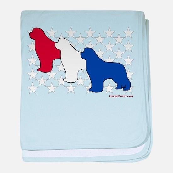 Patriotic Newfies baby blanket