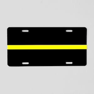 Thin Yellow Line Aluminum License Plate