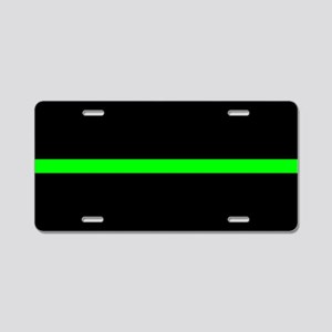 Thin Green Line Aluminum License Plate