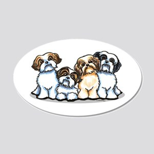 Four Shih Tzus 20x12 Oval Wall Decal