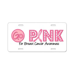 Go Pink Breast Cancer Aluminum License Plate